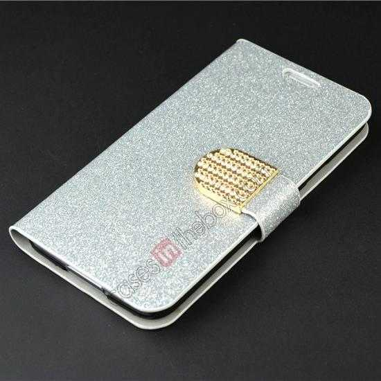 top quality Hot Crystal Diamond Rhinestone Glitter Bling Flip Wallet Leather Case for Samsung Galaxy S5 - Silver