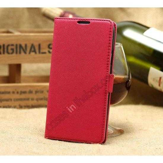 discount K-Cool Cross Pattern Leather Stand Flip Case For Samsung Galaxy S5 G900 - Rose red