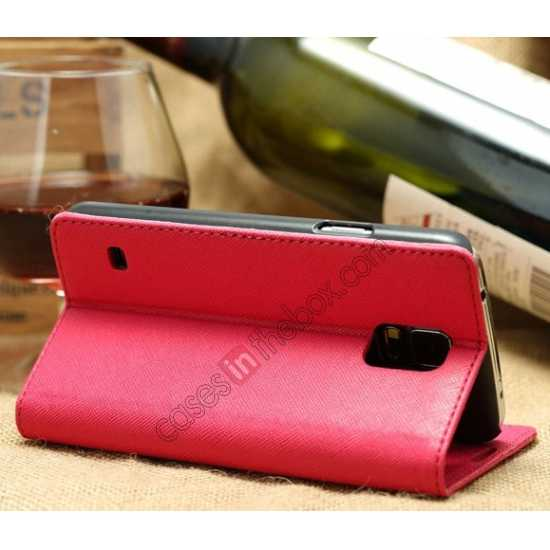cheap K-Cool Cross Pattern Leather Stand Flip Case For Samsung Galaxy S5 G900 - Rose red