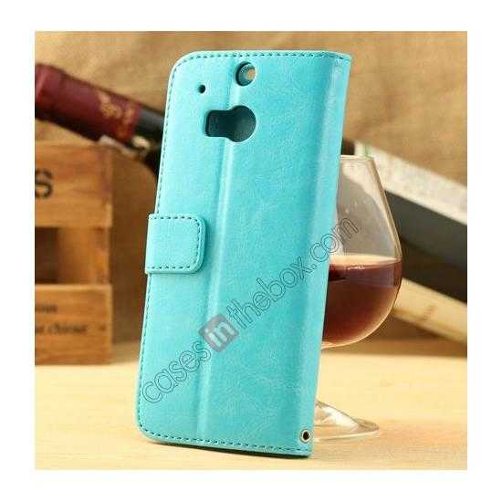 discount K-Cool Flip Wallet Credit Card Slots Stand Leather Case Cover For HTC ONE 2 M8 - Blue