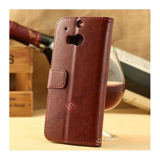 discount K-Cool Flip Wallet Credit Card Slots Stand Leather Case Cover For HTC ONE 2 M8 - Brown