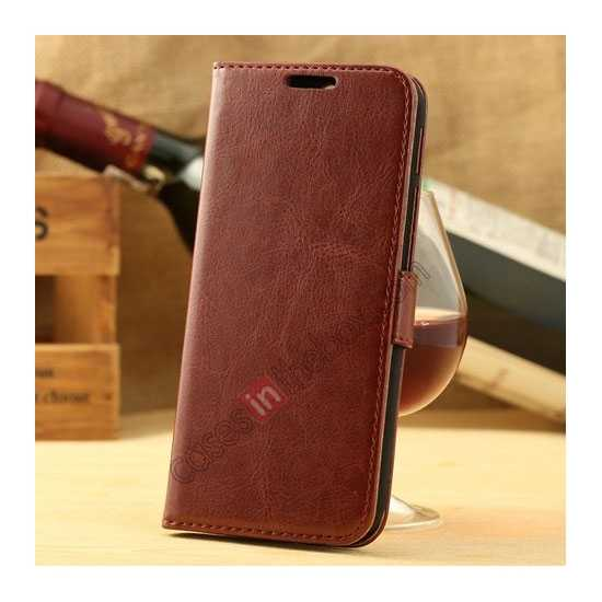 wholesale K-Cool Flip Wallet Credit Card Slots Stand Leather Case Cover For HTC ONE 2 M8 - Brown