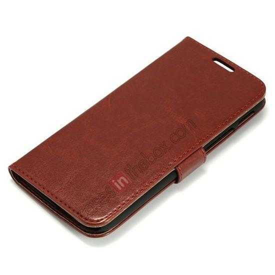 top quality K-Cool Flip Wallet Credit Card Slots Stand Leather Case Cover For HTC ONE 2 M8 - Brown