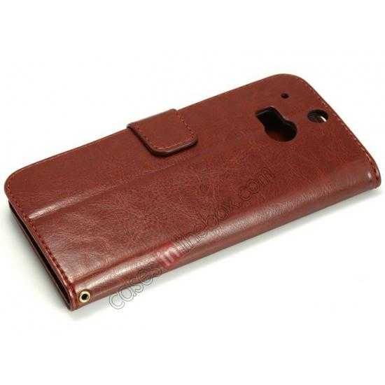 best price K-Cool Flip Wallet Credit Card Slots Stand Leather Case Cover For HTC ONE 2 M8 - Brown