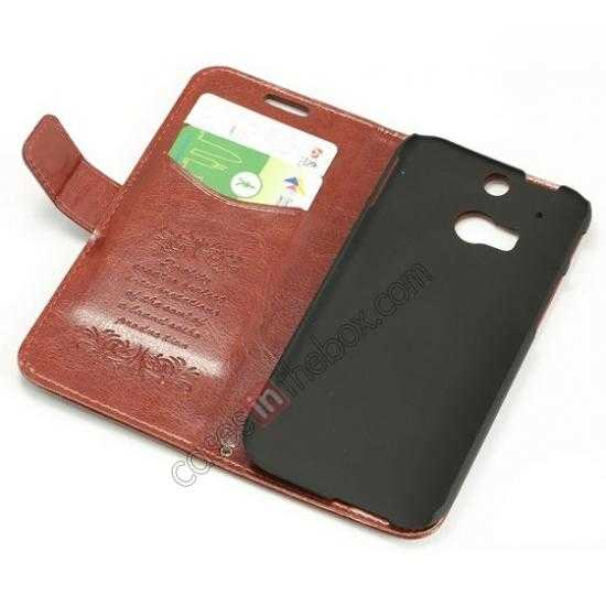 on sale K-Cool Flip Wallet Credit Card Slots Stand Leather Case Cover For HTC ONE 2 M8 - Brown