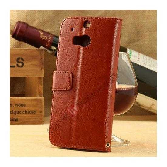discount K-Cool Flip Wallet Credit Card Slots Stand Leather Case Cover For HTC ONE 2 M8 - Light Brown