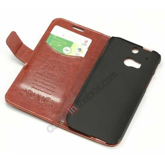 top quality K-Cool Flip Wallet Credit Card Slots Stand Leather Case Cover For HTC ONE 2 M8 - Light Brown