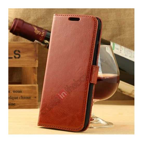 wholesale K-Cool Flip Wallet Credit Card Slots Stand Leather Case Cover For HTC ONE 2 M8 - Light Brown