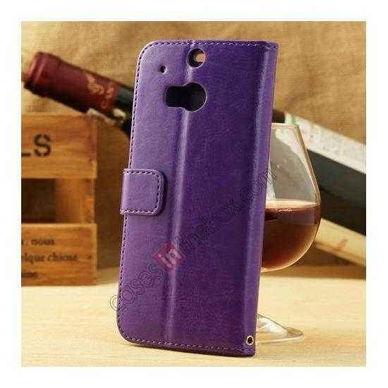 discount K-Cool Flip Wallet Credit Card Slots Stand Leather Case Cover For HTC ONE 2 M8 - Purple