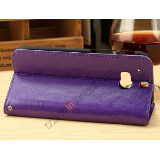 cheap K-Cool Flip Wallet Credit Card Slots Stand Leather Case Cover For HTC ONE 2 M8 - Purple