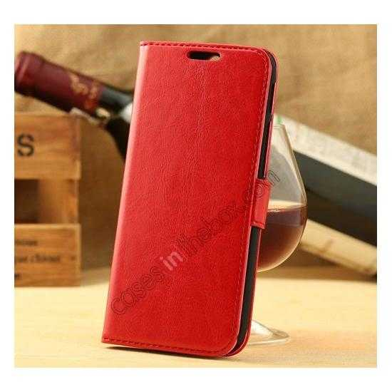 wholesale K-Cool Flip Wallet Credit Card Slots Stand Leather Case Cover For HTC ONE 2 M8 - Red