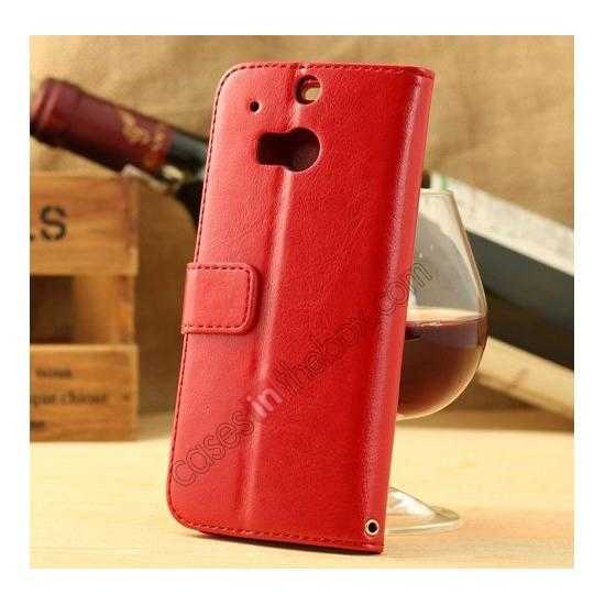 discount K-Cool Flip Wallet Credit Card Slots Stand Leather Case Cover For HTC ONE 2 M8 - Red