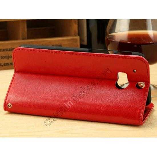 cheap K-Cool Flip Wallet Credit Card Slots Stand Leather Case Cover For HTC ONE 2 M8 - Red
