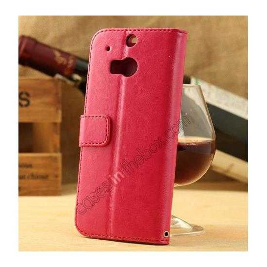 discount K-Cool Flip Wallet Credit Card Slots Stand Leather Case Cover For HTC ONE 2 M8 - Rose