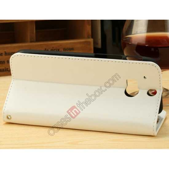 cheap K-Cool Flip Wallet Credit Card Slots Stand Leather Case Cover For HTC ONE 2 M8 - White