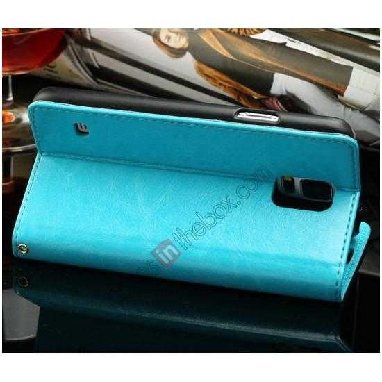 cheap K-Cool Sheep Skin Ultra-thin Leather Stand Case Cover for Samsung Galaxy S5 - Blue