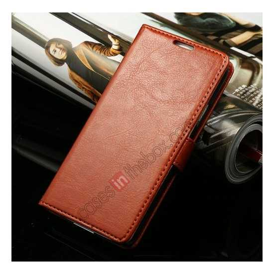 discount K-Cool Sheep Skin Ultra-thin Leather Stand Case Cover for Samsung Galaxy S5 - Brown