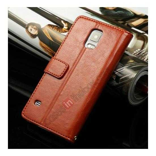 wholesale K-Cool Sheep Skin Ultra-thin Leather Stand Case Cover for Samsung Galaxy S5 - Brown