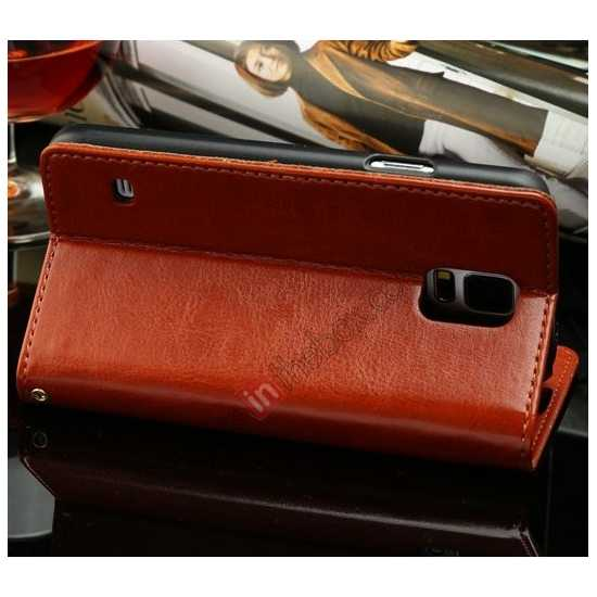 cheap K-Cool Sheep Skin Ultra-thin Leather Stand Case Cover for Samsung Galaxy S5 - Brown