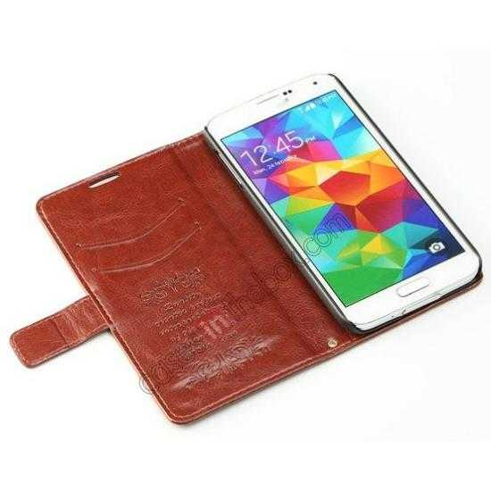 best price K-Cool Sheep Skin Ultra-thin Leather Stand Case Cover for Samsung Galaxy S5 - Brown