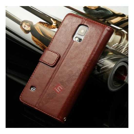 wholesale K-Cool Sheep Skin Ultra-thin Leather Stand Case Cover for Samsung Galaxy S5 - Dark Brown