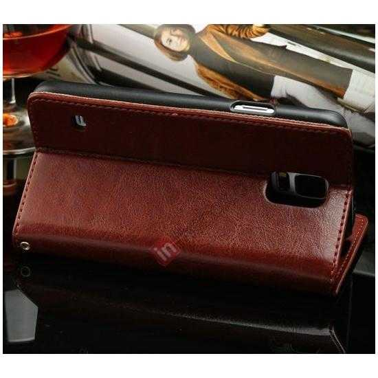 cheap K-Cool Sheep Skin Ultra-thin Leather Stand Case Cover for Samsung Galaxy S5 - Dark Brown