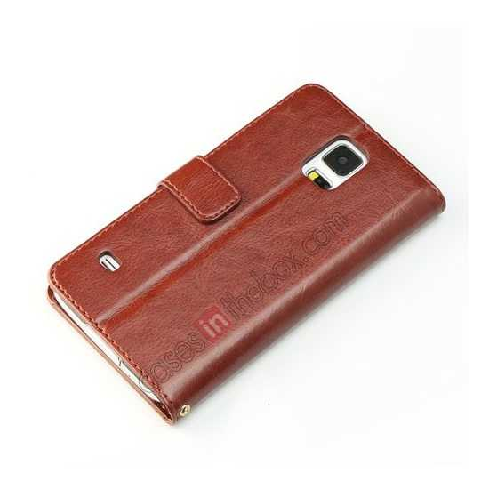 best price K-Cool Sheep Skin Ultra-thin Leather Stand Case Cover for Samsung Galaxy S5 - Dark Brown