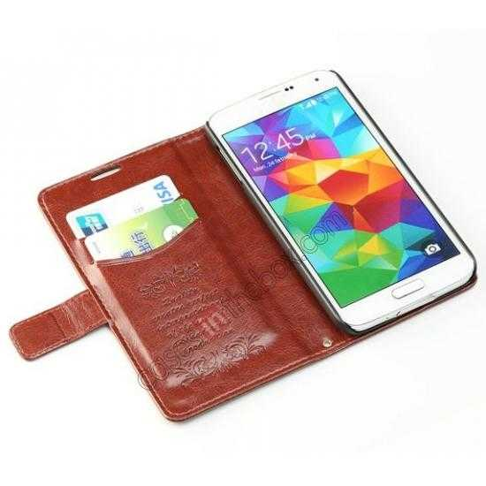 low price K-Cool Sheep Skin Ultra-thin Leather Stand Case Cover for Samsung Galaxy S5 - Dark Brown