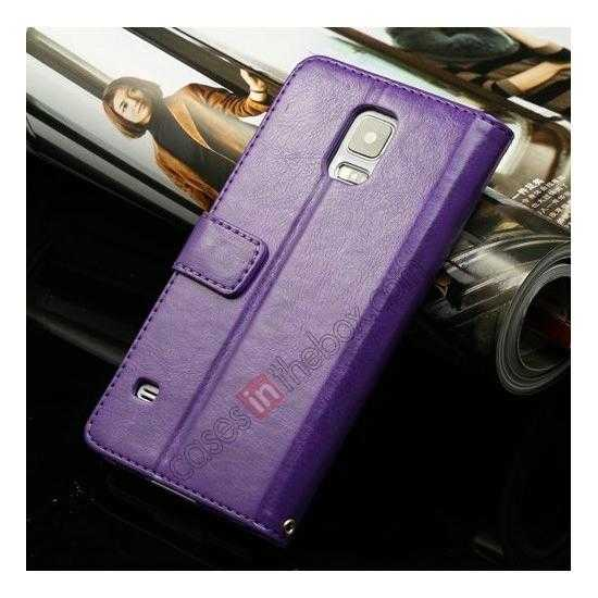 wholesale K-Cool Sheep Skin Ultra-thin Leather Stand Case Cover for Samsung Galaxy S5 - Purple