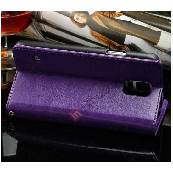 cheap K-Cool Sheep Skin Ultra-thin Leather Stand Case Cover for Samsung Galaxy S5 - Purple