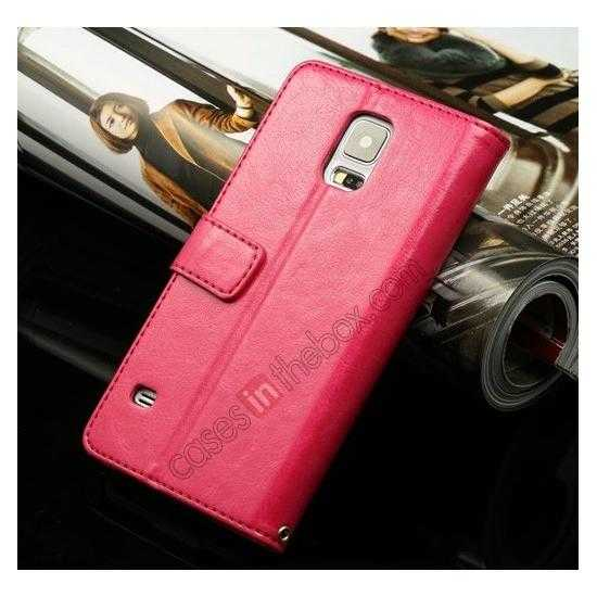 wholesale K-Cool Sheep Skin Ultra-thin Leather Stand Case Cover for Samsung Galaxy S5 - Rose