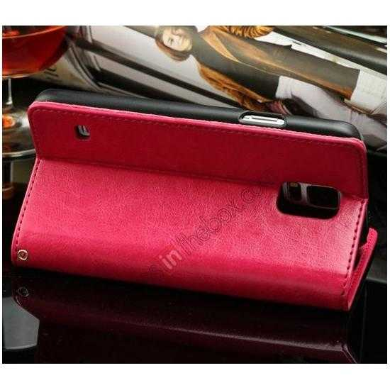 cheap K-Cool Sheep Skin Ultra-thin Leather Stand Case Cover for Samsung Galaxy S5 - Rose