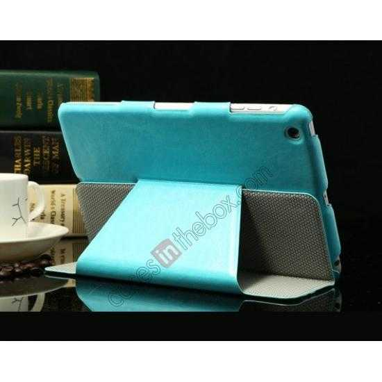 cheap K-cool Ultra Thin Slim Leather Stand Case for iPad Mini 2 Retina - Blue