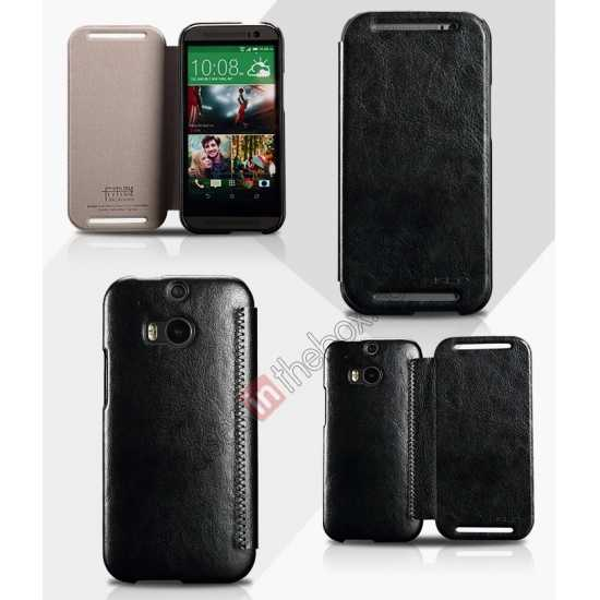 wholesale KLD Enland Series PU Leather Flip Case Cover for HTC ONE 2 M8 - Black