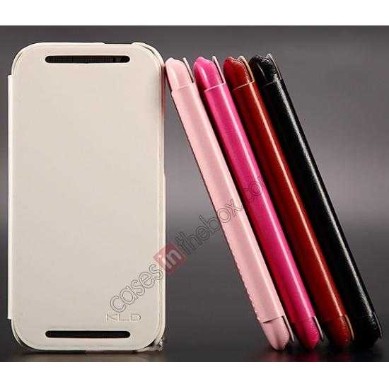 best price KLD Enland Series PU Leather Flip Case Cover for HTC ONE 2 M8 - Pink