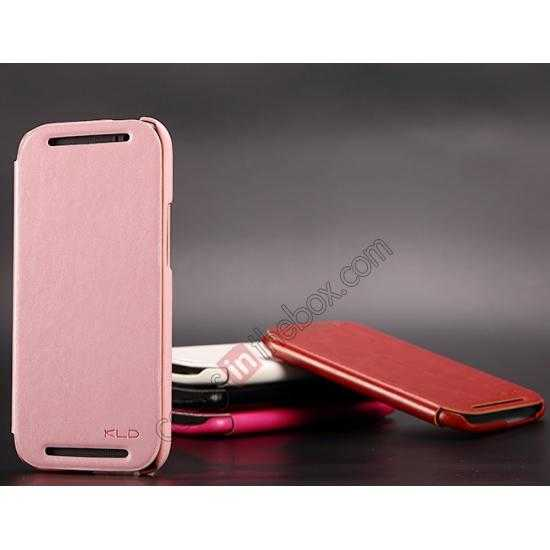 discount KLD Enland Series PU Leather Flip Case Cover for HTC ONE 2 M8 - Pink