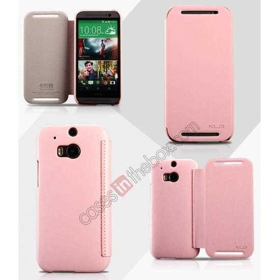 wholesale KLD Enland Series PU Leather Flip Case Cover for HTC ONE 2 M8 - Pink