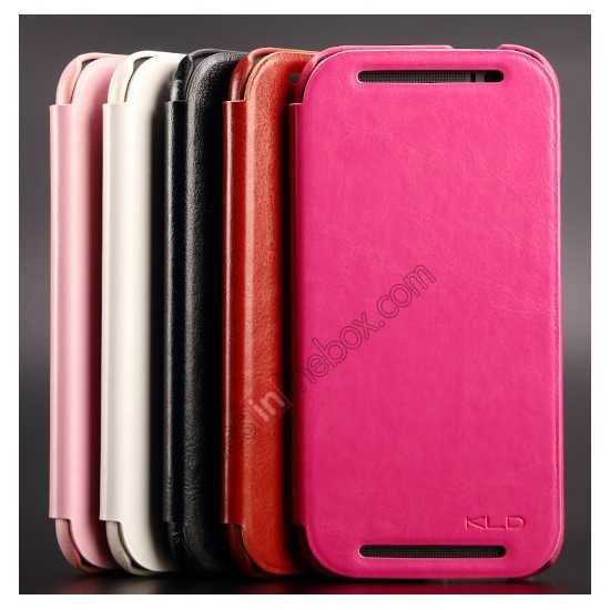 top quality KLD Enland Series PU Leather Flip Case Cover for HTC ONE 2 M8 - Pink