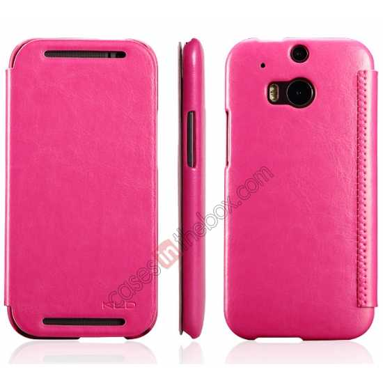 discount KLD Enland Series PU Leather Flip Case Cover for HTC ONE 2 M8 - Rose