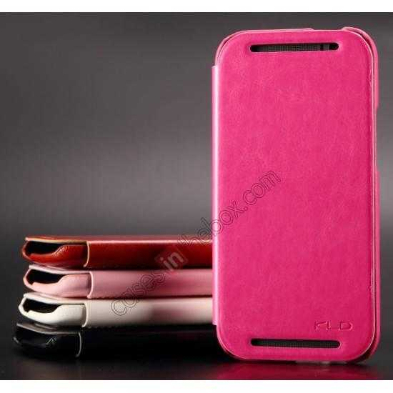 cheap KLD Enland Series PU Leather Flip Case Cover for HTC ONE 2 M8 - Rose