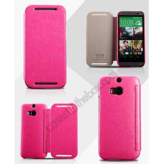wholesale KLD Enland Series PU Leather Flip Case Cover for HTC ONE 2 M8 - Rose