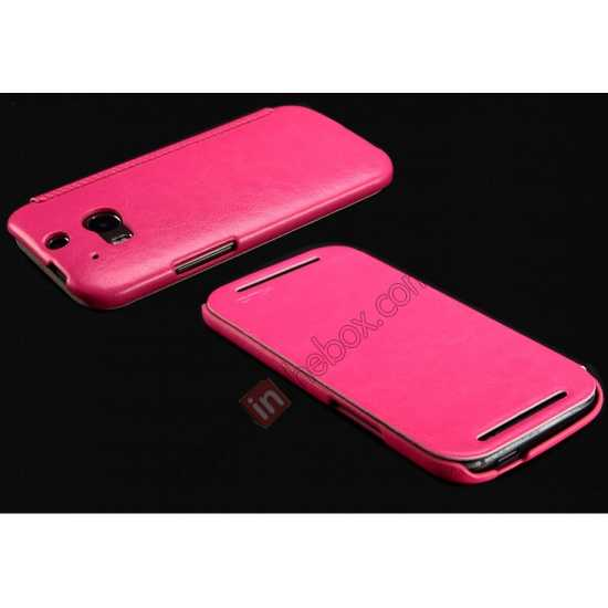 top quality KLD Enland Series PU Leather Flip Case Cover for HTC ONE 2 M8 - Rose