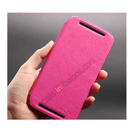 best price KLD Enland Series PU Leather Flip Case Cover for HTC ONE 2 M8 - Rose