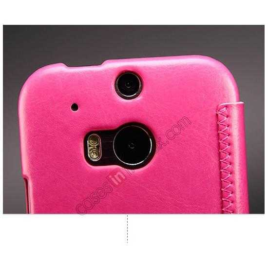 low price KLD Enland Series PU Leather Flip Case Cover for HTC ONE 2 M8 - Rose
