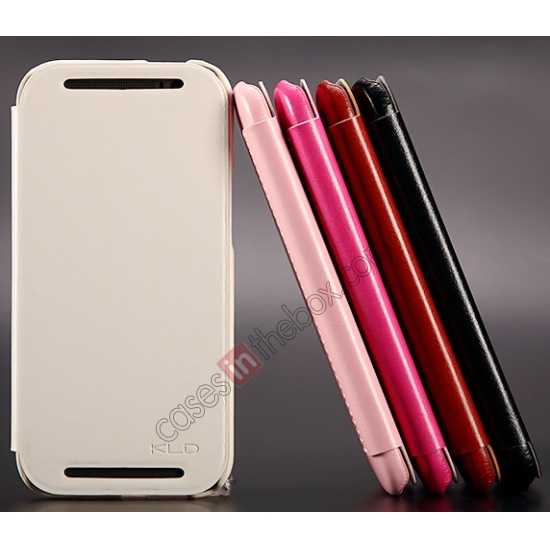 discount KLD Enland Series PU Leather Flip Case Cover for HTC ONE 2 M8 - White