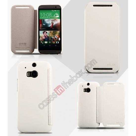 wholesale KLD Enland Series PU Leather Flip Case Cover for HTC ONE 2 M8 - White