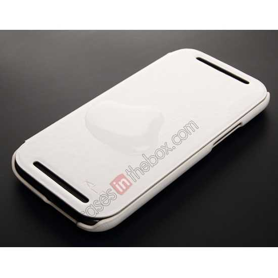 cheap KLD Enland Series PU Leather Flip Case Cover for HTC ONE 2 M8 - White