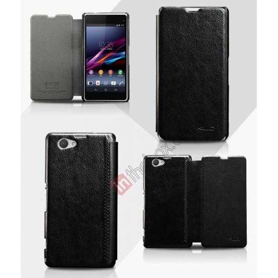wholesale KLD Enland Series PU Leather Flip Case Cover for Sony Xperia Z1 Mini M51W - Black