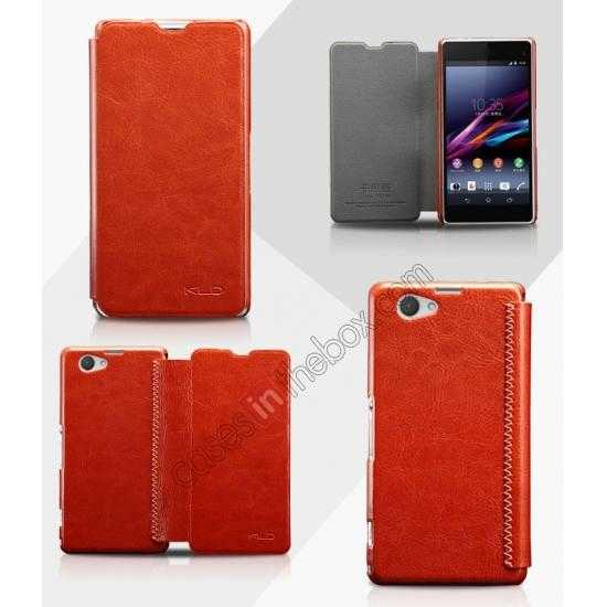 wholesale KLD Enland Series PU Leather Flip Case Cover for Sony Xperia Z1 Mini M51W - Brown