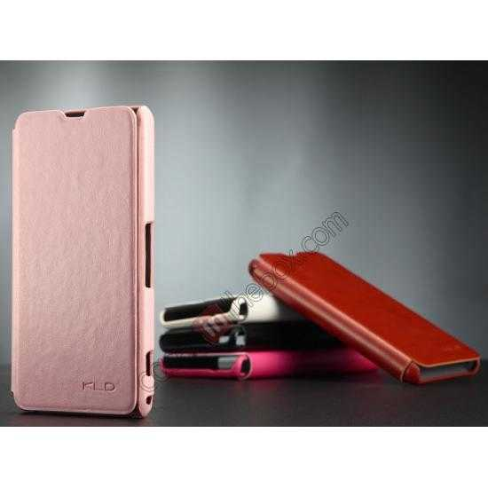 discount KLD Enland Series PU Leather Flip Case Cover for Sony Xperia Z1 Mini M51W - Pink